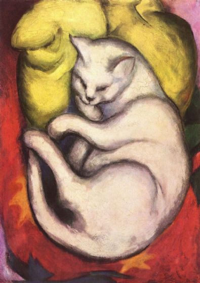 Marc, Franz: Cat on a Yellow Cushion. Fine Art Animal Print/Poster. Sizes: A4/A3/A2/A1 (00691)